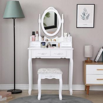 Nowoczesne drewniane toaletka Vanity zestaw stołowy zwięzłe 4 szuflady z 360 obrót lustro makijaż komoda krzesło meble do sypialni HWC tanie i dobre opinie CN (pochodzenie) Malowanie natryskowe Europa i Ameryka Montaż 75x40x145cm China JB65459 as shown Home Furniture France warehouse