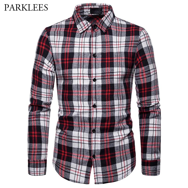Plaid Shirts Designer 2019 Mens New Lapel Long-Sleeved Shirt Casual Slim Fit Male Spring Cotton Shirts High Quality Men Clothing