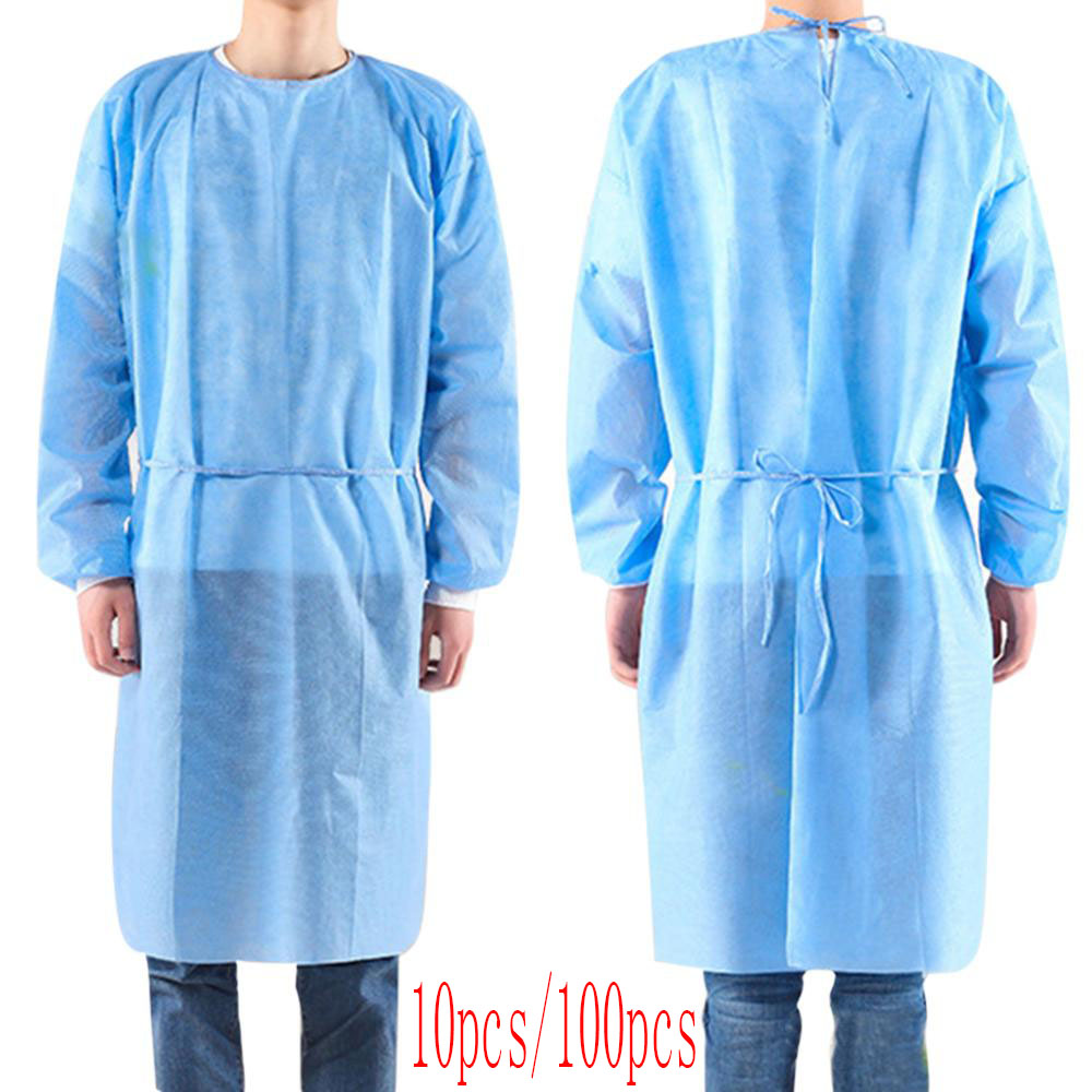 100pcs Disposable Security Protection Clothes Adult Disposable Gowns Dustproof Anti Infection Capes PPE Suit Isolation Gowns