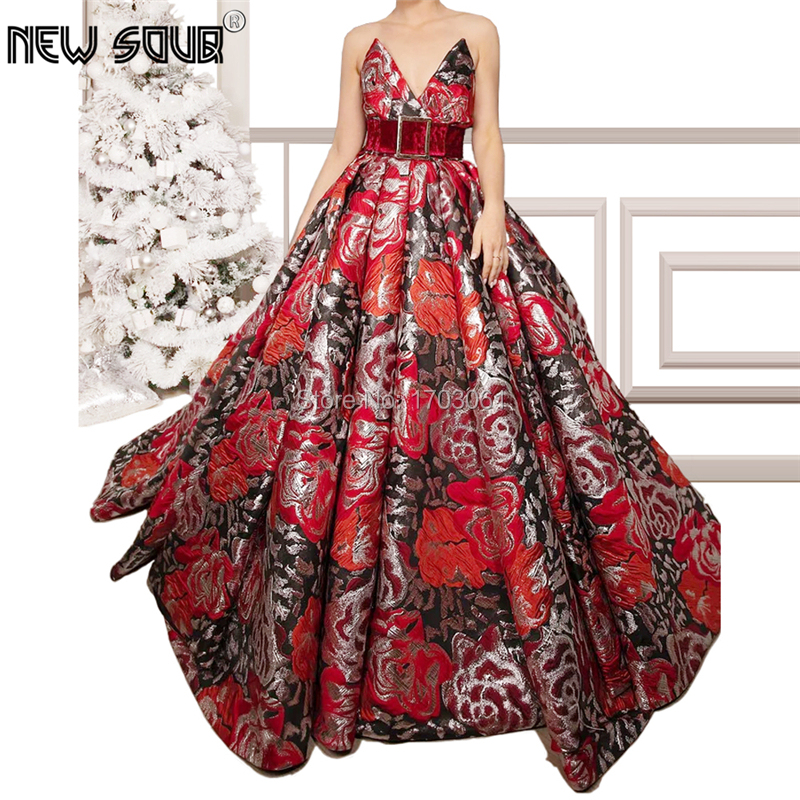 Red Strapless Formal Evening Dresses For Dubai Turkish 2020 Vestido De Festa Islamic Prom Dress Embroidery Pageant Gowns Kaftans