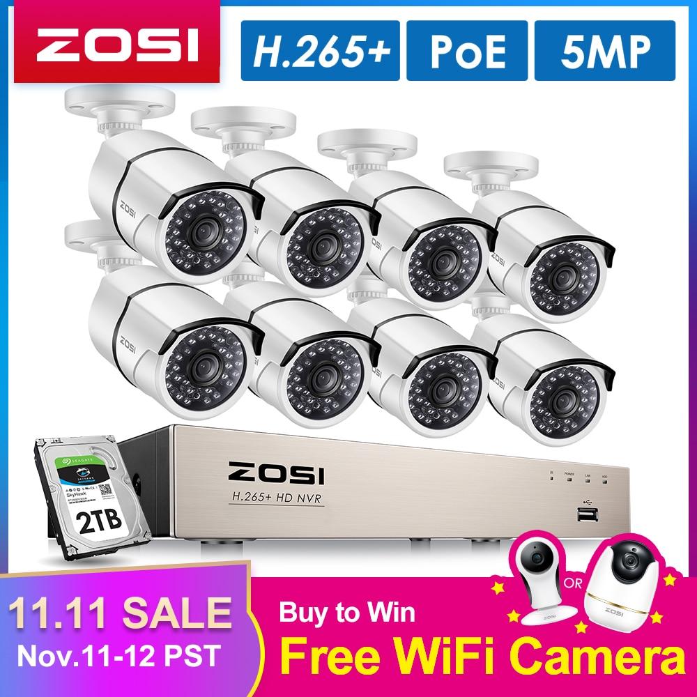 Zosi h.265 8ch 5mp poe sistema de câmera segurança kit 8 pçs 5mp super hd câmera ip ao ar livre à prova dnvr água cctv vídeo vigilância nvr conjunto