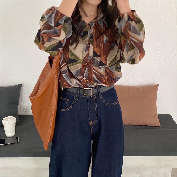 H54aeb94d5ba0411595d717f79324b5bev - Spring / Autumn Turn-Down Collar Long Sleeves Print Buttons Pocket Blouse