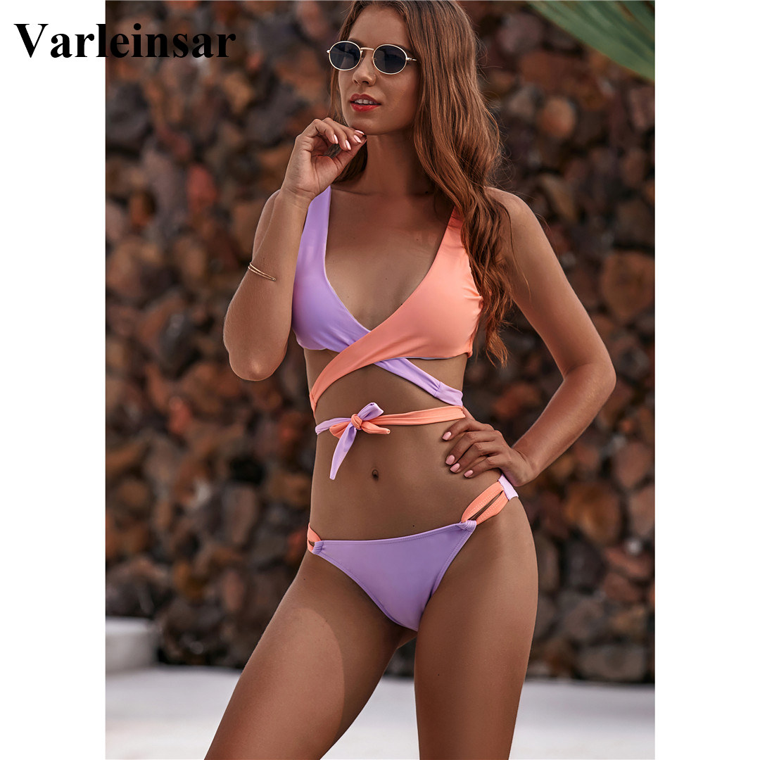 NEW 2020 Wrap Around Bikini Brazilian Swimsuit Female Swimwear Women Two-piece Bikini Set Bandage Bather Bathing Suit Swim V1857 4