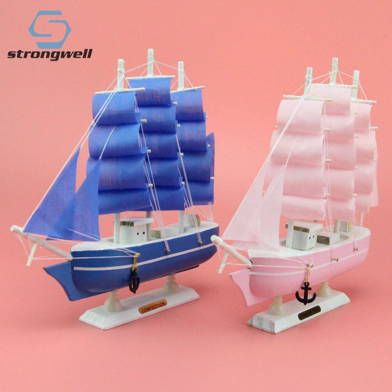 Strongwell Wooden Sailboat Ornaments Sailing Model Blue Pink Mediterranean Decorative Home Decoration Accessories