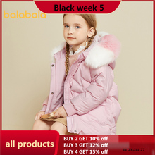 Balabala girls down jacket 2020 girls fur collar cotton jacket thick warm mid-length hooded down jacket