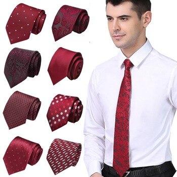 Classic Men's Stripe Red Wedding Ties Jacquard Woven 7.5cm 100% Silk Men's Tie Dots Floral Neckties Formal Dress Wedding Men Tie floral embroidered tie detail stripe dress