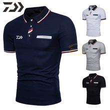 цена на Daiwa Patchwork T Shirt Men Cotton Fishing Clothing Short Sleeve Shirt Buttons Breathable Polo Shirt Fishing Shirt for Summer