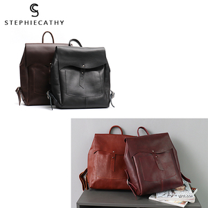 Image 5 - SC Women Italian Leather Backpack Vintage Retro Style Flap Buckle Large Shoulder Bags School Life Travel Holiday Knapsacks
