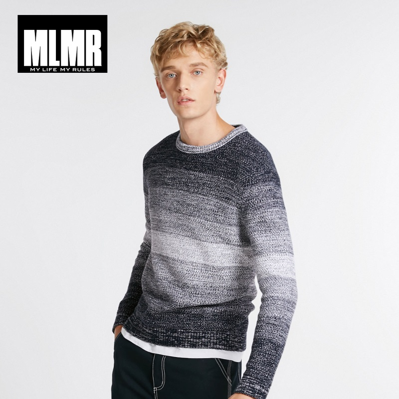 JackJones Autumn Men's Fashion Trend Cotton Round Neck Gradient Stripe Stitching Sweater 218324552