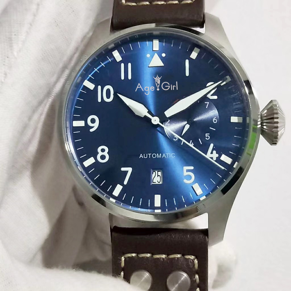 Luxury Brand New Men Automatic Mechanical Classic Big Pilot 46mm Le Petit Prince 7 Day Power Reserve Brown Leather Blue Watch