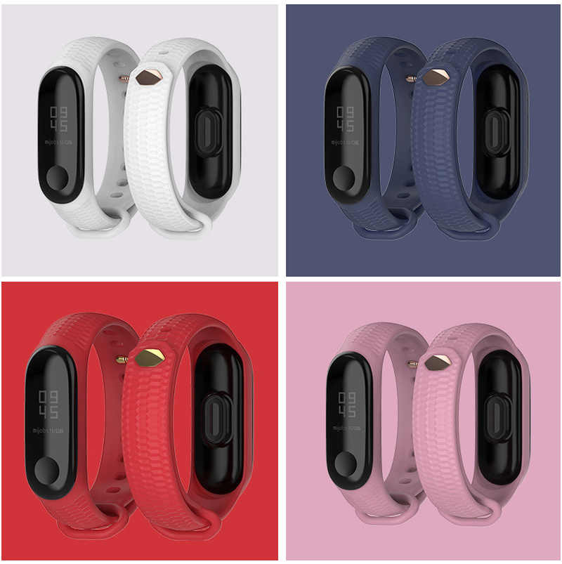 สำหรับ Xiao mi mi Band 4 3 นาฬิกาสายรัดข้อมือซิลิโคนสำหรับ Xiao mi mi Band 4 อุปกรณ์เสริมสร้อยข้อมือ mi band 3 สาย