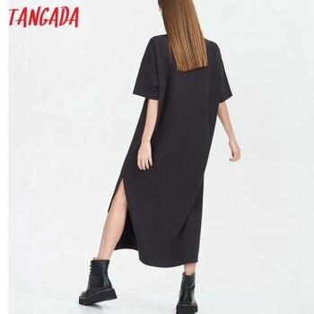 Tangada 2021 Women Elegant 95% Cotton Sweatshirt Dress Oversized Short Sleeve Side Open Ladies Midi Dress 6L60 3