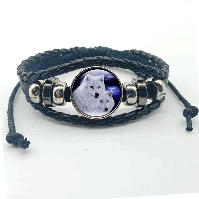1 pezzo accessorio di moda lupo e di luna piena pulsante nero braccialetto di cuoio dei monili rotonda cupola di vetro cabochon del pendente del regalo