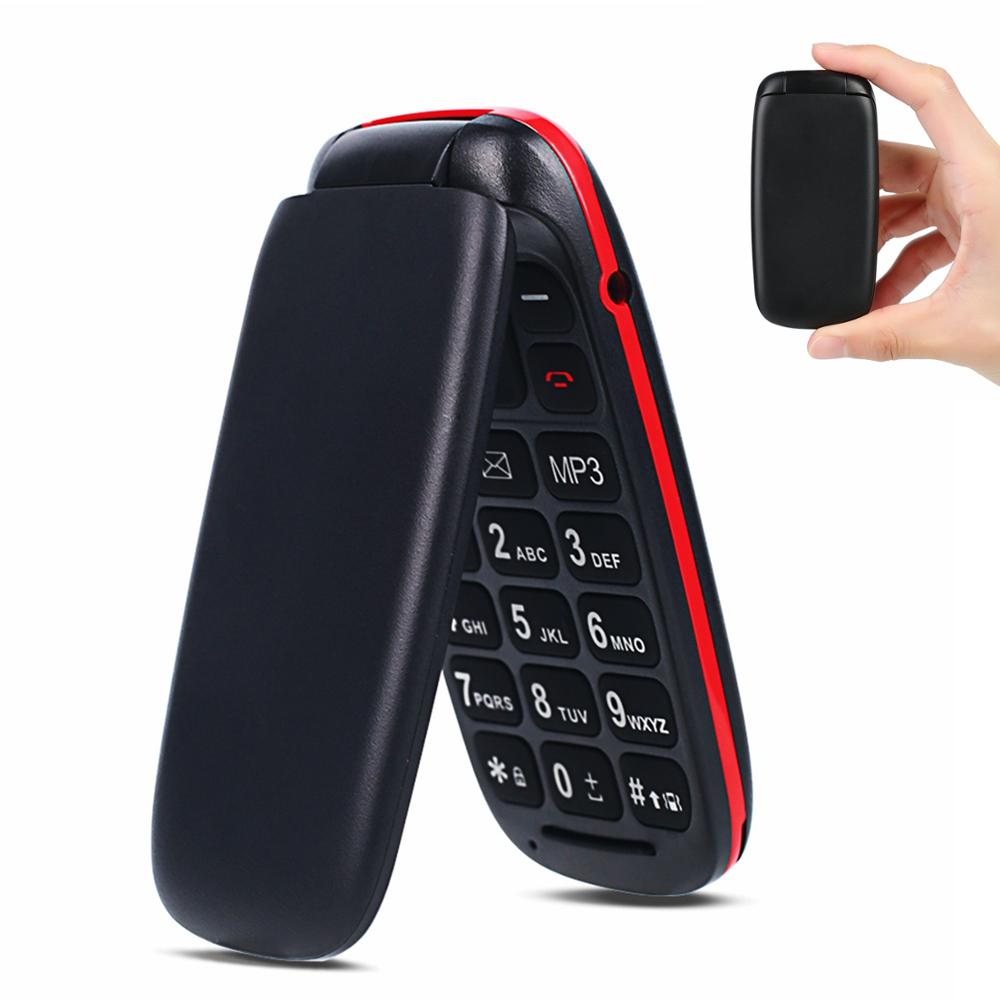 Unlocked Feature Mobile Phone Senior Kids Mini Flip Phones Russian Keypad 2G GSM Push Button Key Cellphone