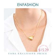 ENFASHION Heart Locket Pendant Necklace Women Gold Color Openable Photo Frame Choker Necklace Fashion Femme Jewelry P193056