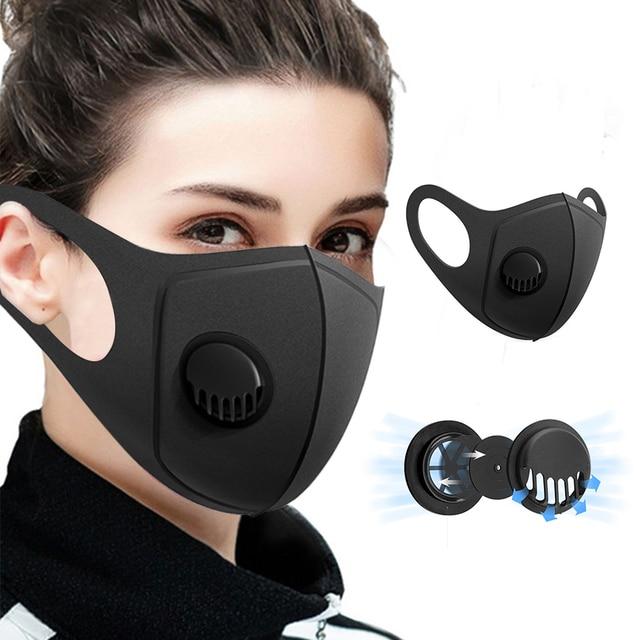 1/2/4/8 Pcs Sponge Face Mouth Mask Warm Black Breath Valve Mask Dustproof PM2.5 Anti Pollution Mascarilla Reusable Washable New