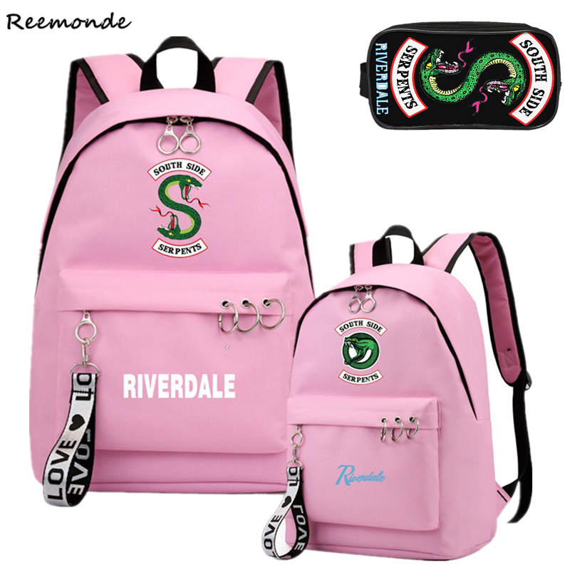 South Side Serpents Riverdale Southside Backpack Canvas Bag Riverdale School Bags Girls Mochila Feminina Riverdale Notebook Bags