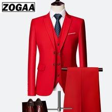ZOGAA 2019 Male Wedding Dress Custom Made Groom Tuxedos Men's suits Tailor Suit Red Blazer Suits For Men 3 Pcs Jacket+Pants+Vest popular tailcoat groom tuxedos jacket pants vest custom made men wedding suits