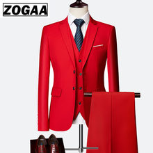 ZOGAA 2019 Male Wedding Dress Custom Made Groom Tuxedos Men's suits Tailor Suit Red Blazer Suits For Men 3 Pcs Jacket+Pants+Vest(China)