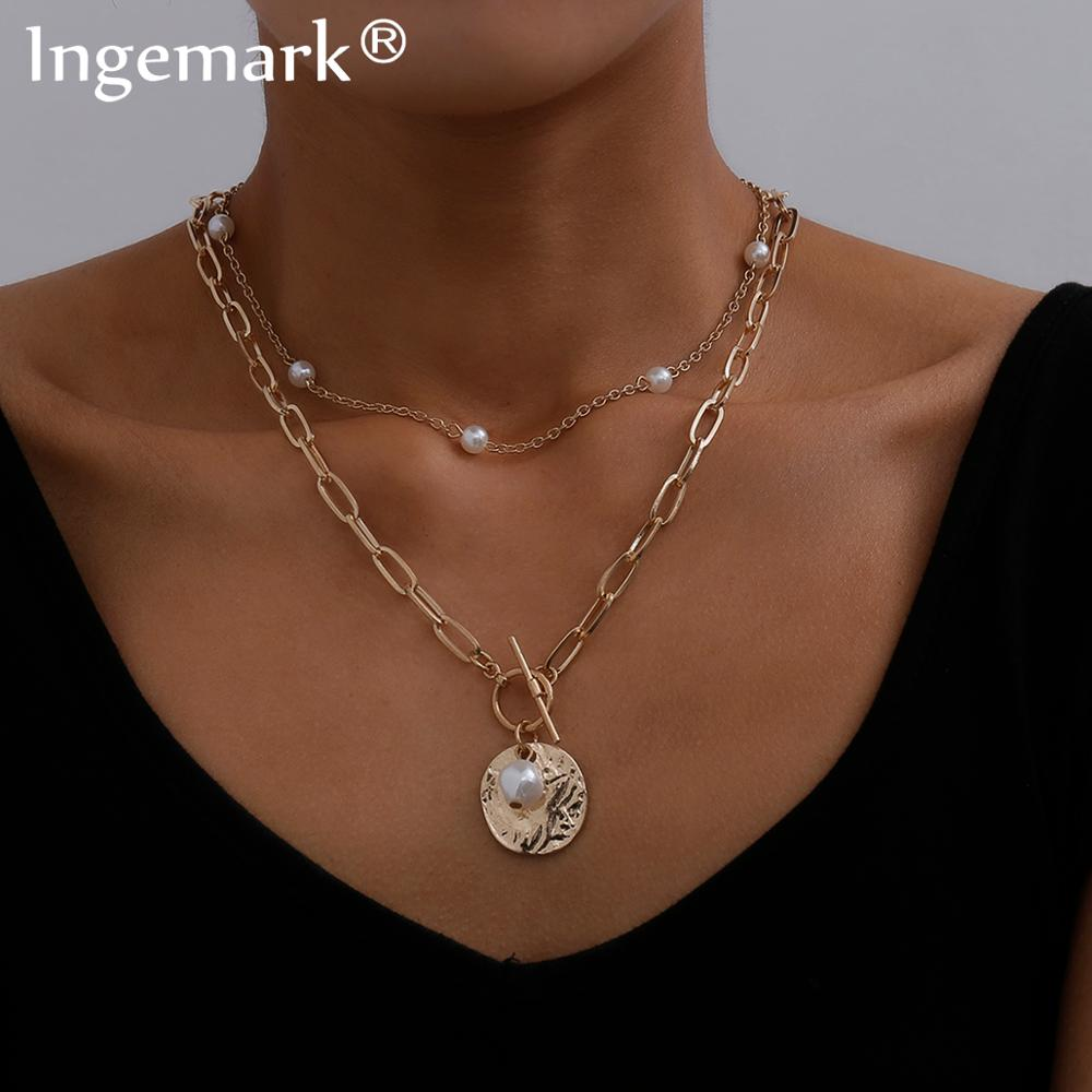 Gothic Baroque Pearl Coin Pendant Choker Necklace for Women Wedding Punk Bead Lariat Gold Color Long Chain Necklace Jewelry Gift