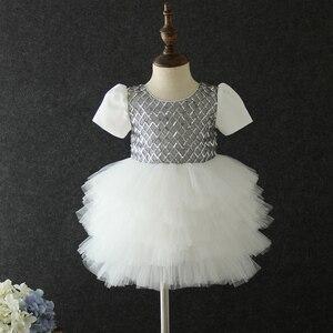 Image 3 - Yeni stil bebek yıldönümü doğum günü partisi ziyafet işlemeli elbise çiçek kız prenses ilk dans performans elbise