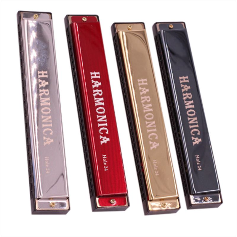 24 Hole Harmonicas Diatonic Polyphony C Tone Blues Jazz Rock Musical Instrument Practice Harp Mouth Organ Children Adults Music