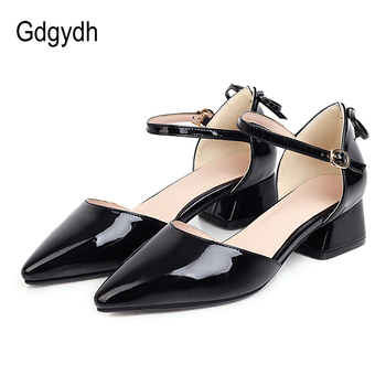 Gdgydh Patent Leather Pointed Toe Shoes Women Two Piece Summer Pumps For Office Working Fashion Bowie Mid Heel Big Size 48 - discount item  50% OFF Women's Shoes
