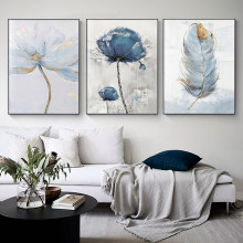 Scandinavian Flower Canvas Art Abstract Painting Print Feather Decoration Picture for Living Room Nordic Home Decor Wall Poster