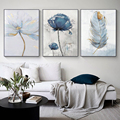 Скандинавская картина с изображением растений и цветов на холсте, художественный принт с перьями, декоративная картина для гостиной, сканд...