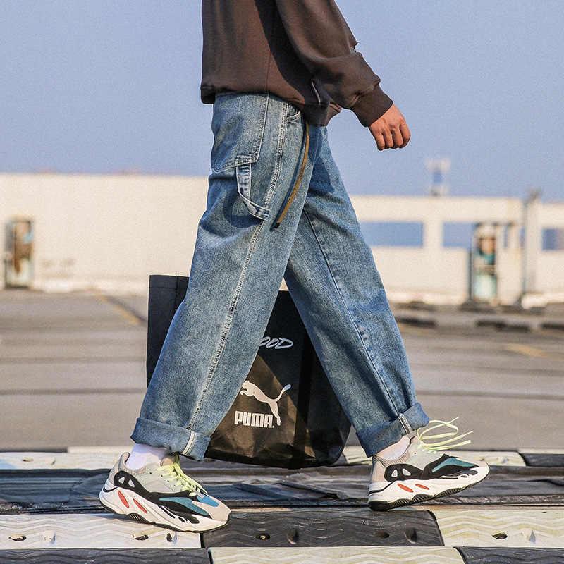Мужские свободные джинсы весна и осень новый тренд модные прямые старые