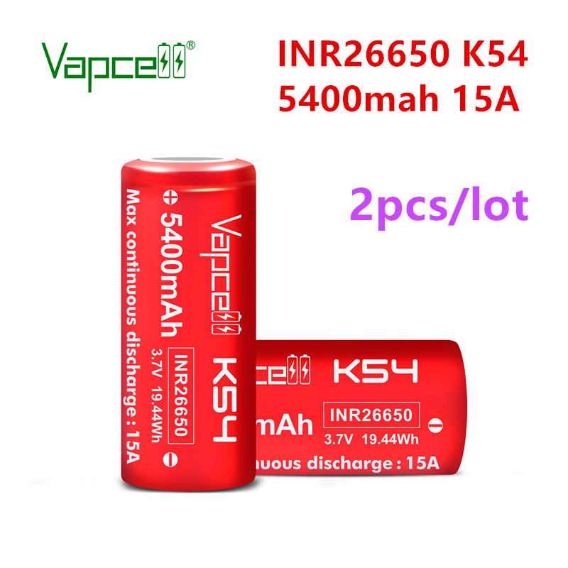 2pcs/lot VapCell original INR 26650 5400mah 15A K54  li ion battery 3.7V rechargeable for flashlight power tools free shipping|Rechargeable Batteries|   - AliExpress