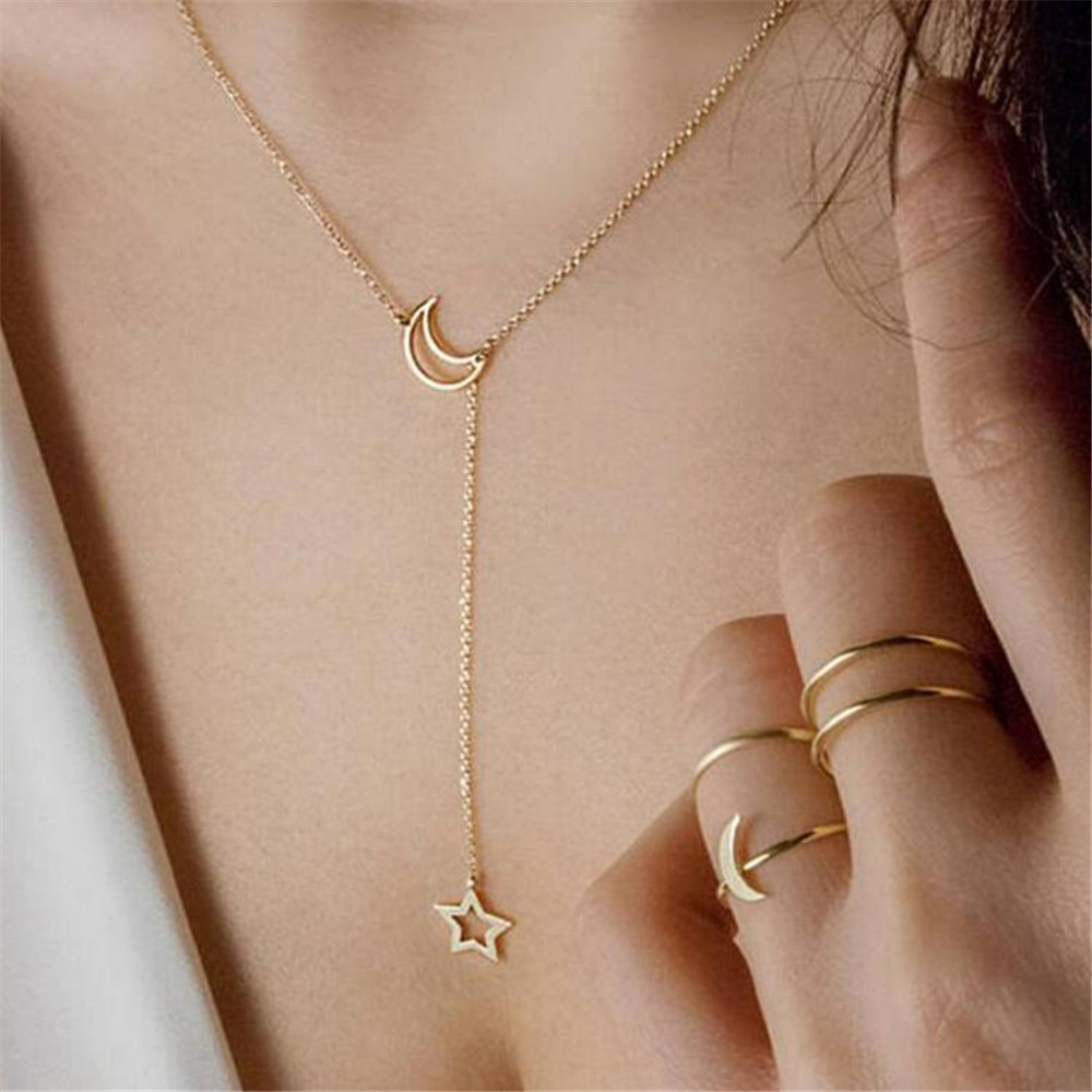 Fashion Star And Moon Necklace Pendant Gold Color Long Clavicle Chain Necklace Necklace for Women Elegant Sweet Style