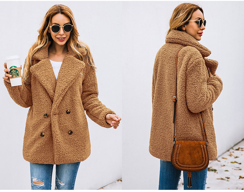 H54b0d5d307d84b708bcfb891c1231334w Lossky Women Long Sleeve Autumn Winter Thick Warm Jacket Coats Plus Size Loose Button Pocket Pink Lady Plush Flannel Overcoat