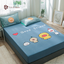 Liv-Esthete Cartoon Duck Fitted Sheet Blue Mattress Cover Bed Linen 100% Cotton On Elastic Band For Adult Child