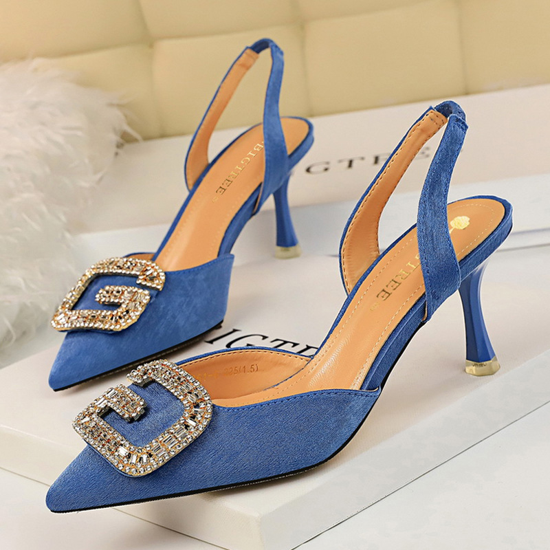 Где купить BIGTREE/пикантные женские туфли-лодочки на каблуке «рюмочка» с металлическими стразами; весенние женские босоножки; замшевая женская обувь; обувь для вечеринок; женская обувь на каблуке; 2020