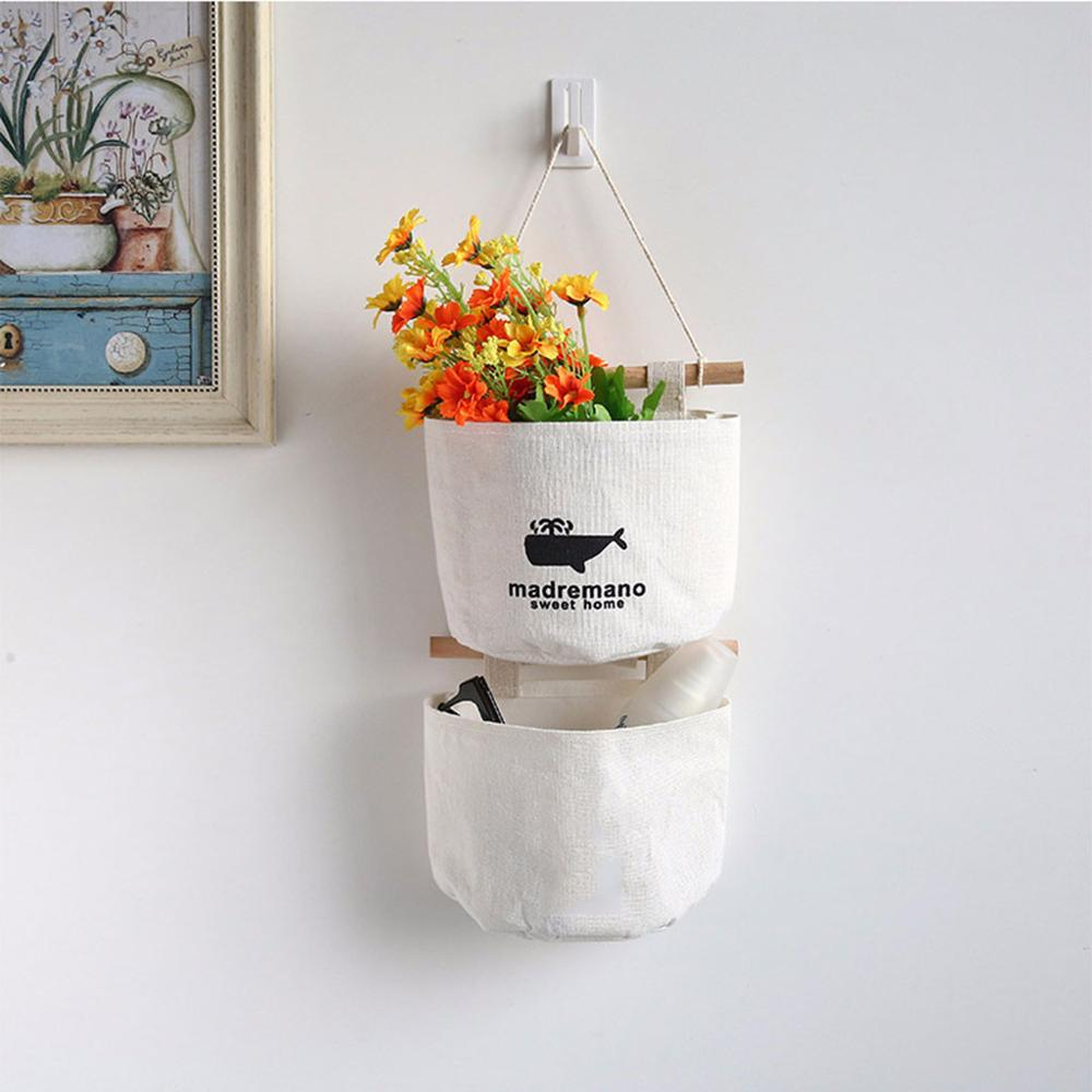 Baskets Organizer Hanging-Bags Wall-Pouch Hanger Cosmetic-Toys Home-Decoration Cotton