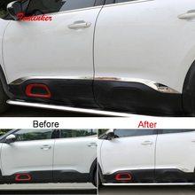 Tonlinker Exterior Coche Borde de puerta cubierta de la etiqueta engomada para CITROEN C5 Aircross 2018-19 estilo de coche 4 Uds de acero inoxidable cubierta de la etiqueta engomada