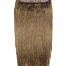 """ZZHAIR 100 г-200 г 1""""-28"""" Искусственные волосы одинаковой направленности волос один кусок набор 5 зажимов в человеческие волосы для наращивания 1 шт Натуральные Прямые"""