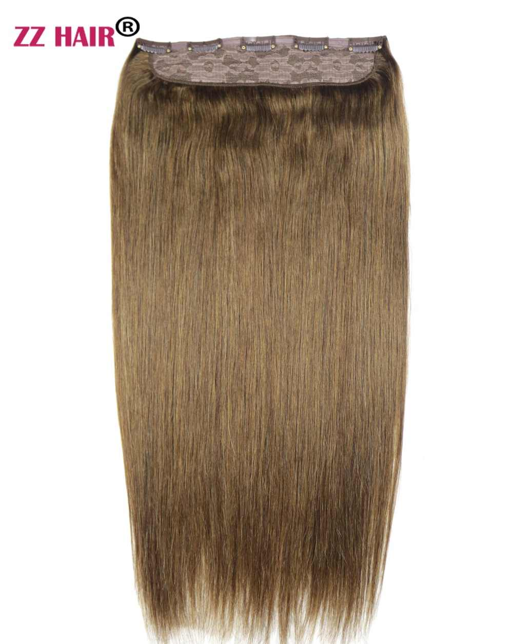 "ZZHAIR 100g-200g 16""-28""Machine Made Remy Hair One Piece Set 5 Clips in 100% Human Hair Extensions 1pcs Hair Natural Straight"