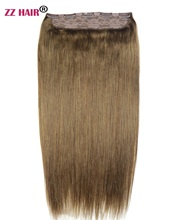 Волосы ZZHAIR 100-200 г, 16-28 дюймов, 1 шт., набор из 5 зажимов для наращивания, 100% натуральные прямые волосы