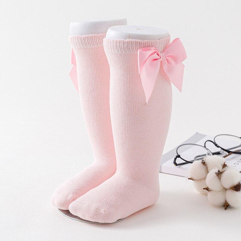 Winter Kids Socks for Girls Princess Socks Big Bows Knee High Baby Long Socks for Children Newborn Infant Cotton Sock 3