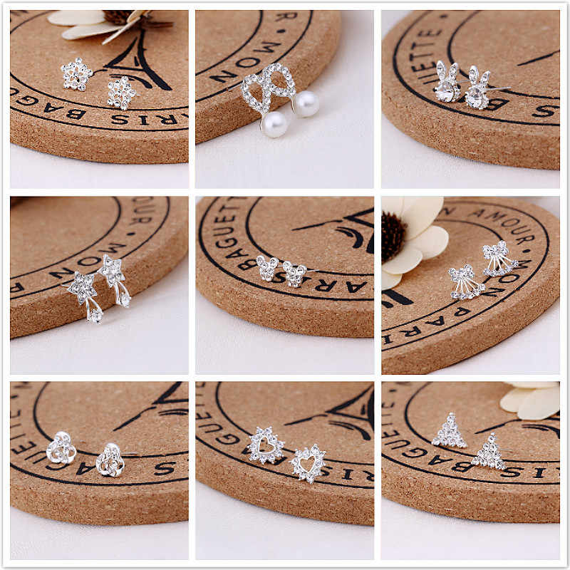 2019 New Silver Combination Zircon Inlaid Hoop Earrings Shiny Animal Plants Women Gift Jewelry Gift