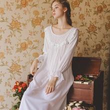 2019 New Sleepwear Spring Summer Nightdress Female Cotton Long-Sleeved Sexy Star Fungus Skirt Princess GZ06
