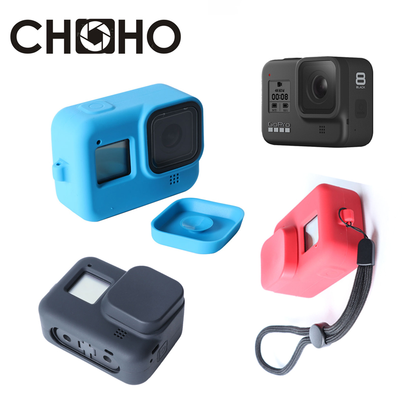 For Gopro 8 Accessories Silicone Frame Protective Case Housing Soft Rubber + Lens Cap + Strap Red Blue For Go Pro Hero8 Black