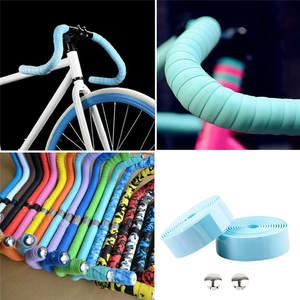 Road Bike Bicycle Handlebar Tape 8 kind Solid color Cycling Handle Belt Cork Wrap with Bar Plugs non slip absorb sweat New 7