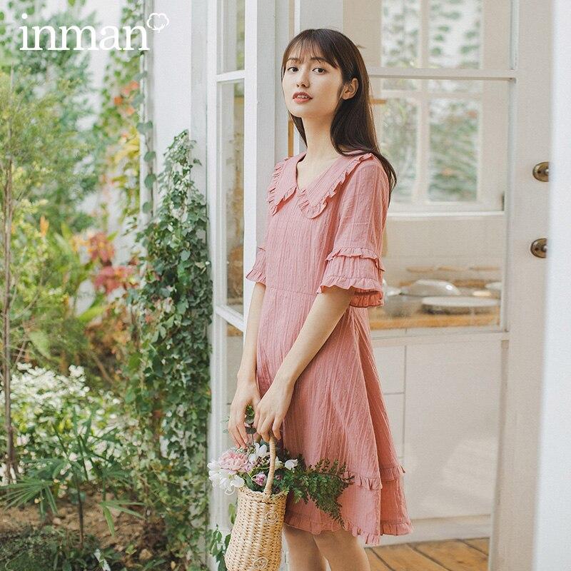 INMAN 2020 Summer New Arrival Peter Pan Collar Sweet Cute Literary Falbala Short Sleeve Dress