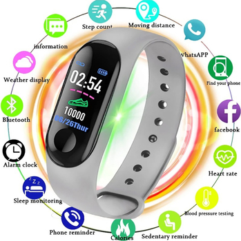 AmylingG M3 Universal Electronic Smart Watch Women Men Unisex Heart Rate Monitor Fitness Tracker Smartwatch For Android Phone image