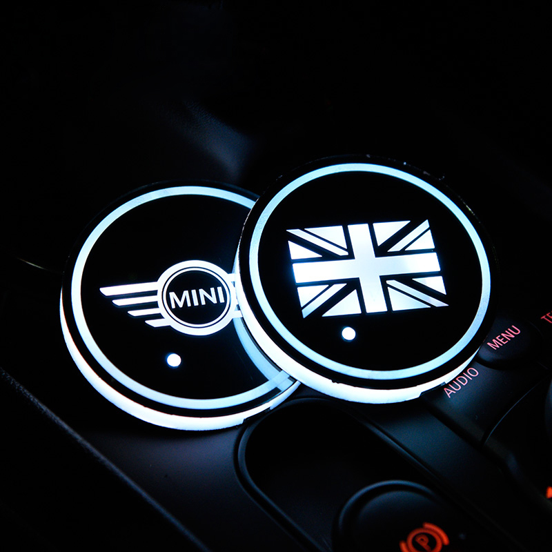 For BMW MINI Cooper Car Cup Led Lighting Pad Interior Colorful Atmosphere Anti-slip Mat Coffee Cushion Storage Groove Protect