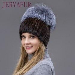 Heißer Verkauf Pelz Hut Hand geweven Kostenloser mail Winter Warme Frauen Nerz hüte Vertikale Weben Mit Fuchs Pelz Und leder Auf D