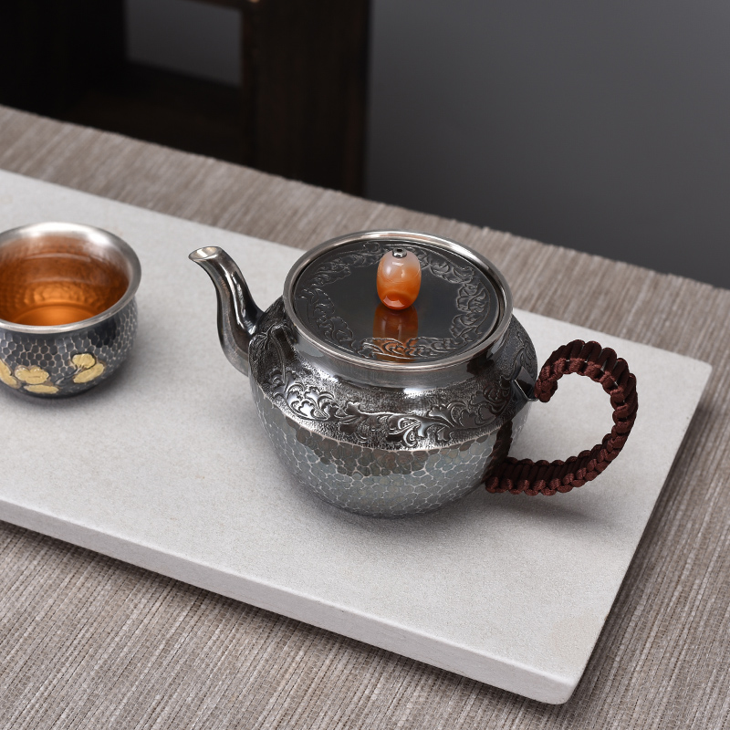 Jade Pick Japanese Style Old Silver Teapot Tea Ceremony Household Tea Silver Pot Sterling Silver 999 Teapot Silver Tea Set
